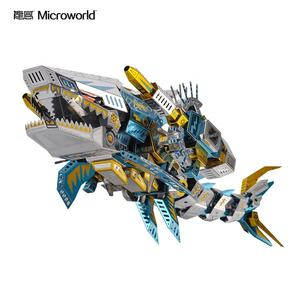Microworld 123pcs diy shark jigsaw puzzle model 3d metal animal puzzle toy