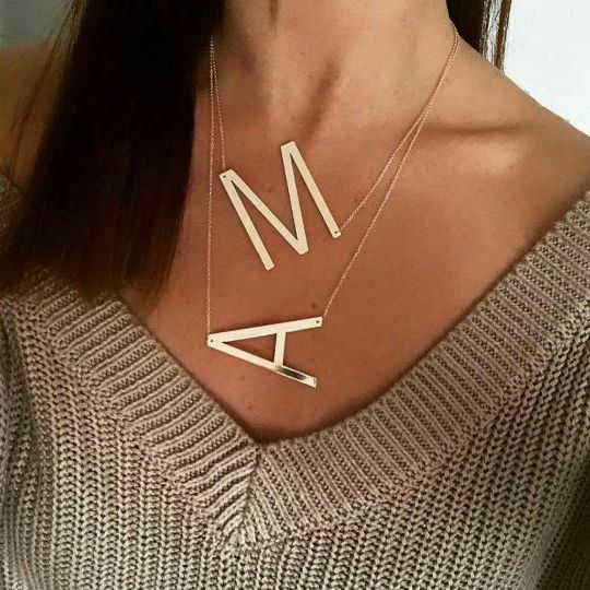Q1001 26 Capital Initial Letters Necklace Gold Big Letter Script Name Stainless Steel Pendant Monogram Necklaces