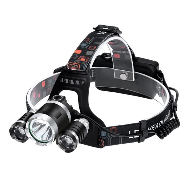 Lightweight ABS 3 Leds Head Flashlight Rechargeable Hunting Headlamp 4 Modes Waterproof Headlight