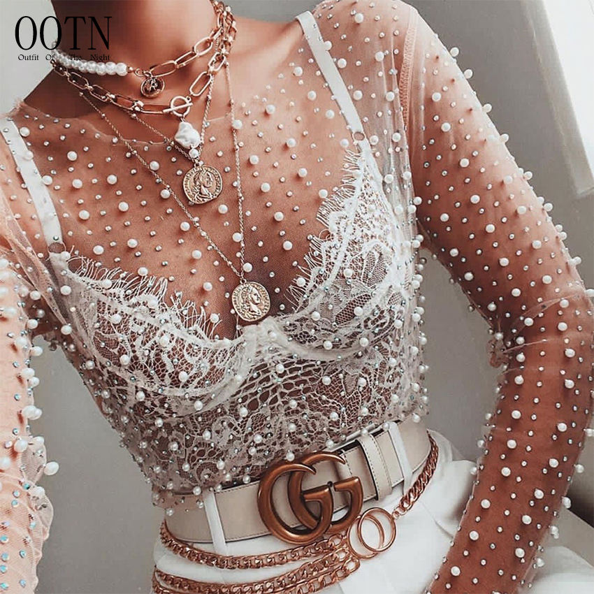 OOTN Club Party Tops Ladies 2020 Spring Pearl Beading Blouse Blusas Women Transparent O-Neck Long Sleeve Sexy Lace Mesh Shirt