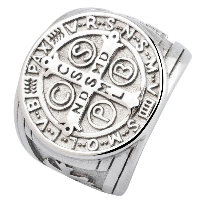 Jezus Christian Cross Rvs Ringen Voor Man Overheersend St. Benjamin Cross Badge Tij Ring Mode-sieraden