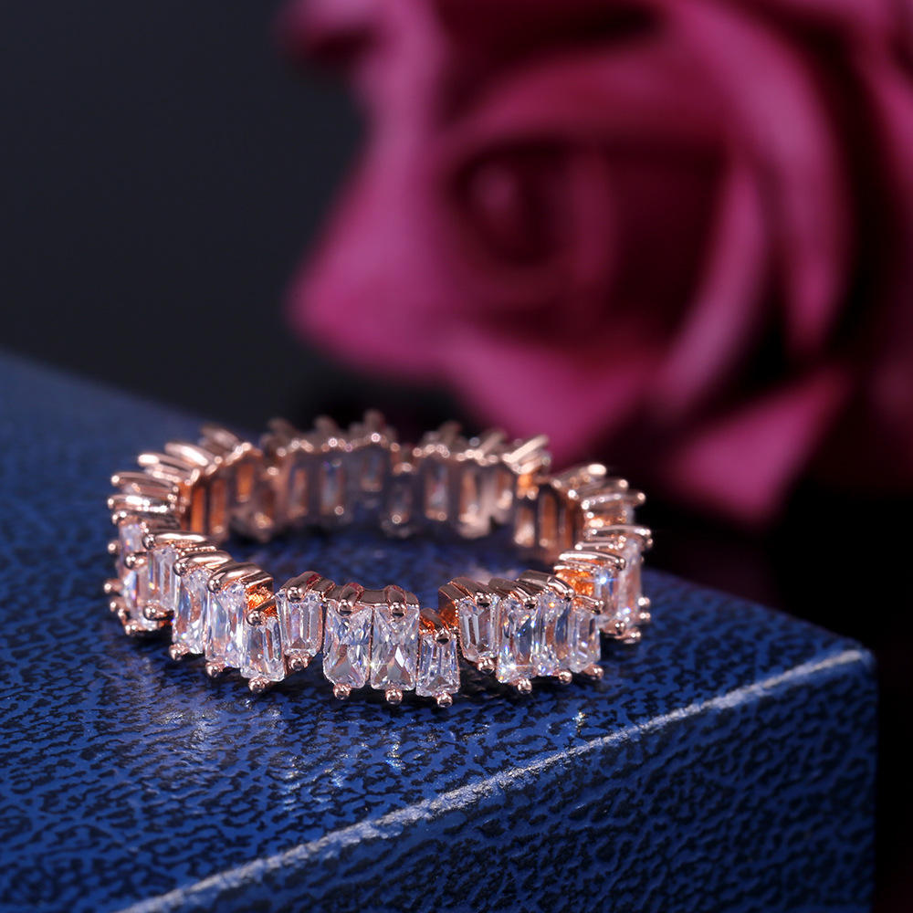 Europese Trendy Fashion Onregelmatige Vierkante CZ Crystal Ringen <span class=keywords><strong>Goud</strong></span> Zilver Rose Gold Plated Zirconia Ringen Voor Koppels