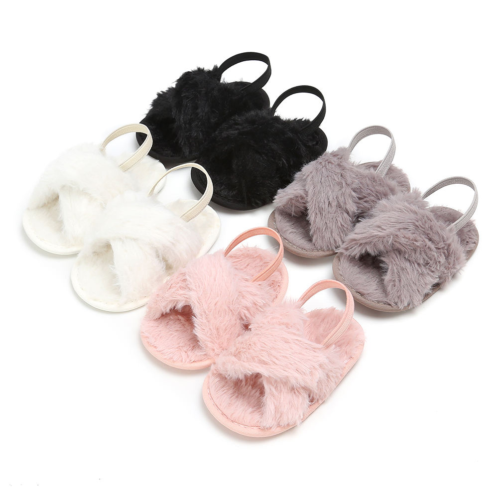 New designed Faux fur soft-sole 0-18 months anti-slip Walking infant crib Baby girl sandals