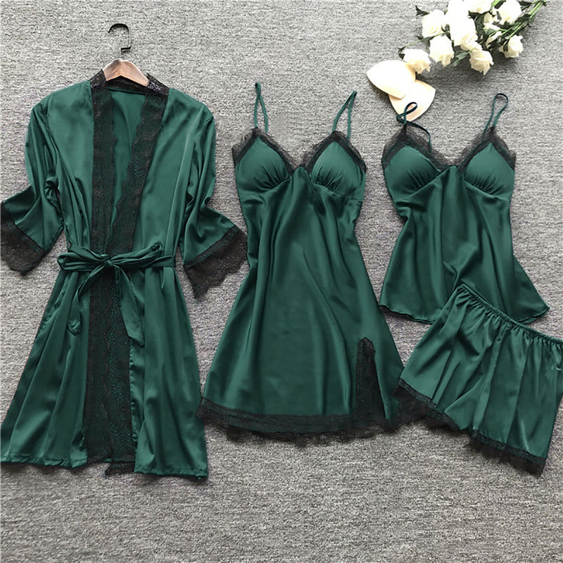 2020 Manufacturers Soft Ladies pajama Sexy Women 4 pieces Pajama Silk Satin Sleepwear Sets Cheap pajama set