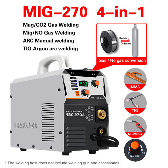 NBC-270 New multi-function 4-in-1 NO gas shielded welding argon welding MIG/MAG/ MMA /TIG welder machine