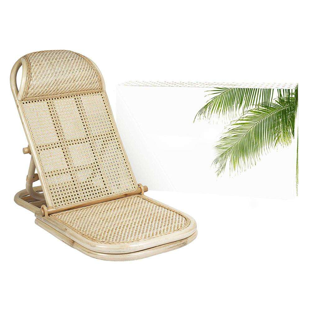 Deck Folding Portable Chair Wicker Cane Bamboo Lounger Rattan Lawn Floor Pool Lounger Sunbed Small Rattan Folding Beach Chair