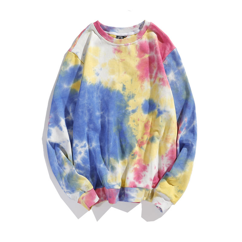 High Quality Stock Polyester And Cotton Winter Women And Men Crew Neck Tye Dye Unisex Sweatshirt With 4 Colors