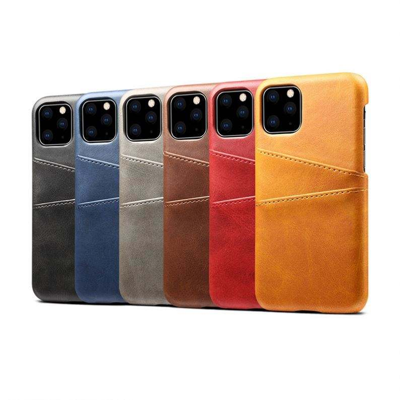 Slanke Vintage Snap On Back Cover Premium Leather Case Met 2 Kaarthouder Slots Voor Iphone 12 Pro Max Case credit Card