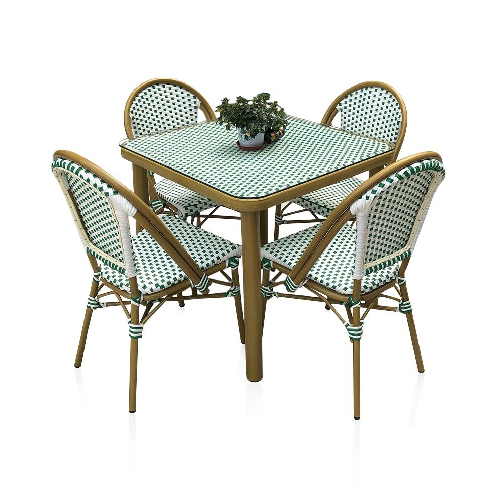 (SP-OC429) Modern outdoor Cafe table chair garden sets Aluminum Restaurant rattan furniture