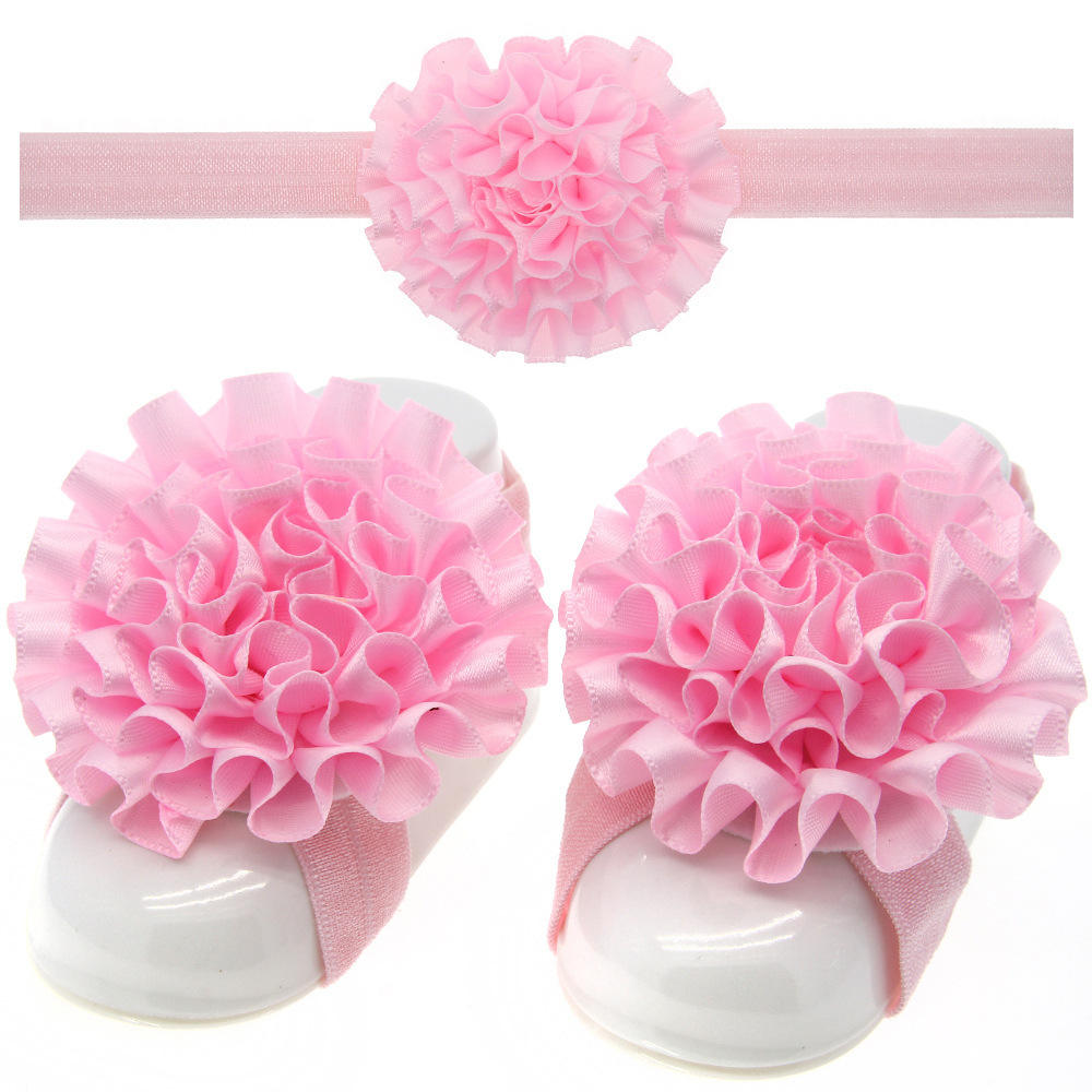 Baby Tiara Foot Flower Set Fold Flower Hair Band Foot Strap Wholesale