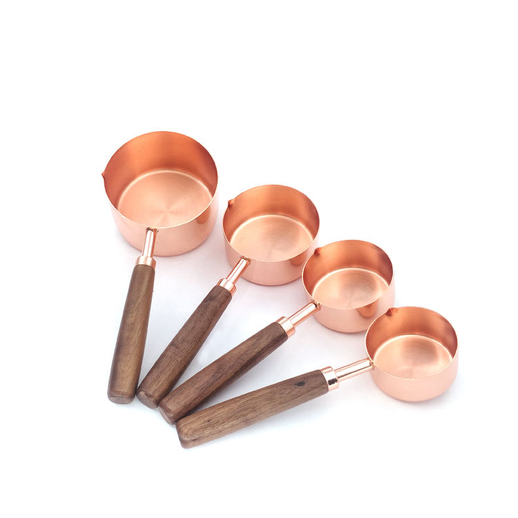 Metal Measuring Cup 4-piece Rose Gold Measuring Spoon Set Measuring Cup With Graduated Spoon Black Walnut Handle
