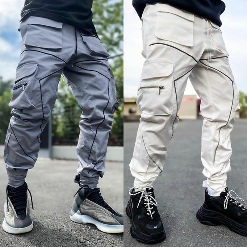 2021 New trendy muscle fitness mens clothing spring autumn sports casual cargo sweatpants reflective striped track pants