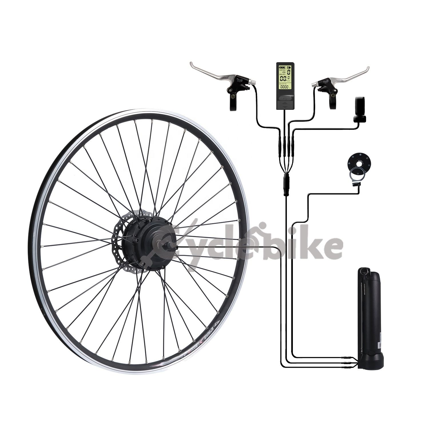 Integrated controller 36v 250w Front Rear Motor wheel electric bike conversion kit with lithium battery