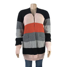 Custom fall/winter 2020 Europe and the United States explosions in long knit striped cardigan sweater coat