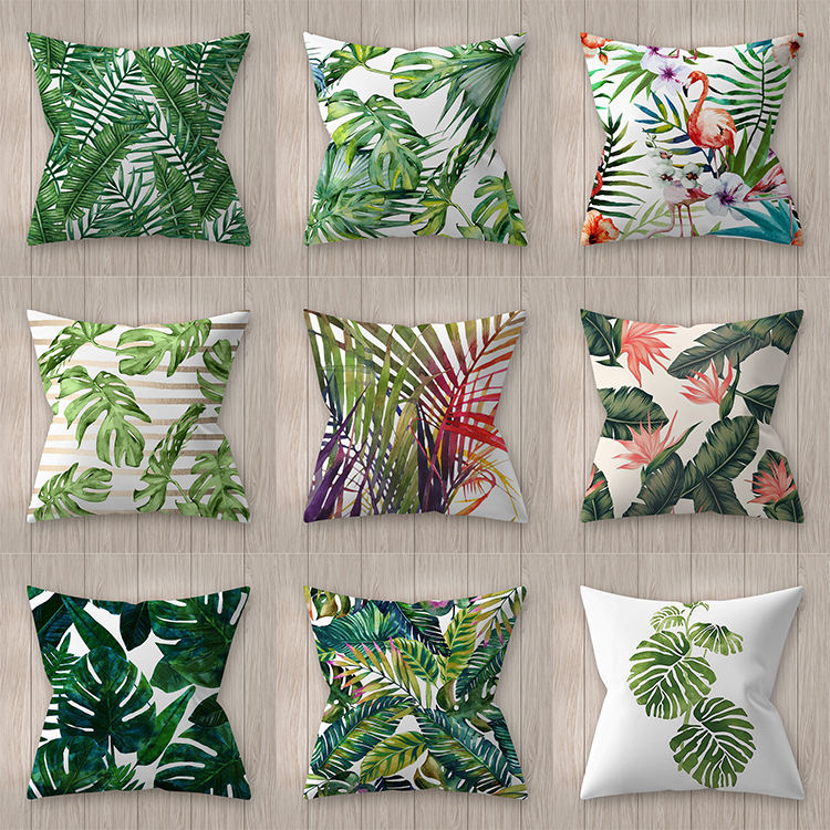 Wholesale Green Leaves Cushion Cover, Leaves Throw Pillow Cover, Leaves Print Flax Cushion Cover