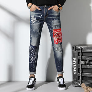 OEM Design New Torn Ripped Jeans For Men Spliced Embroidery Skinny Jeans Men Elastic Stretchy Slim Pants Hip Hop Streetwear