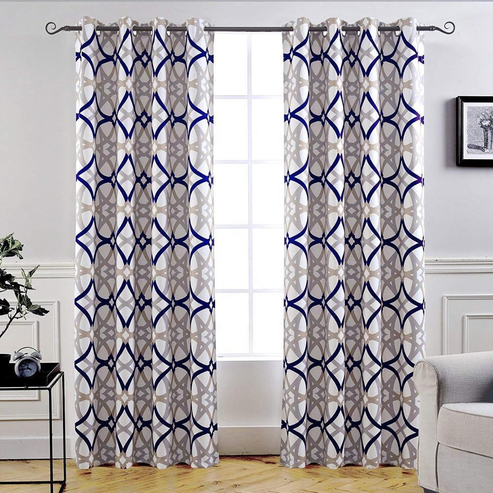 Circular geometric printed woven thermal insulated grommet top drapes