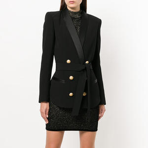 Black Blazer With Waistband Women Blazer Mujer Women Suits