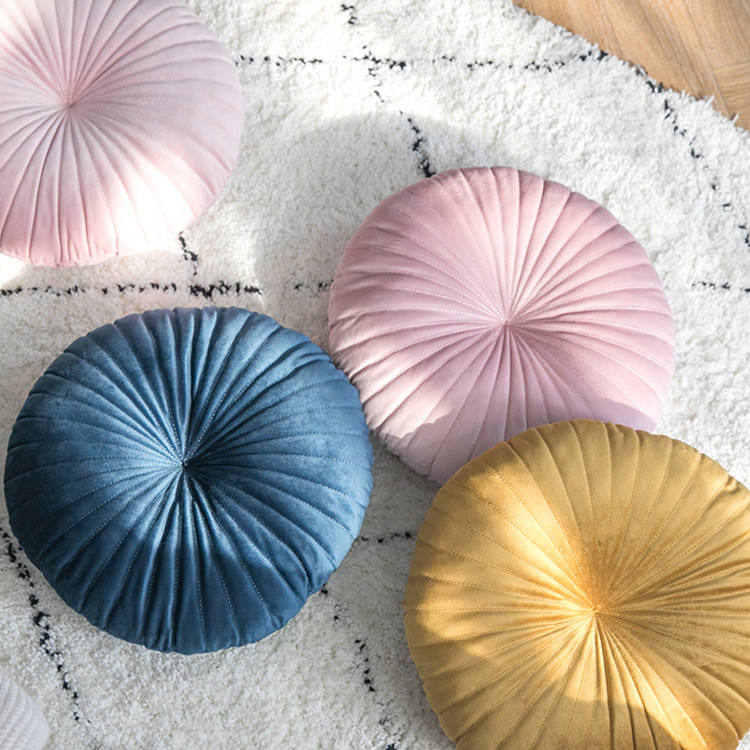 Washable PP cotton insert custom velvet round floor cushion