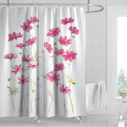 Moon Gradient Shower Curtain Waterproof Mildew Proof Punch-free Perforated Printing Flower Bathroom Curtain