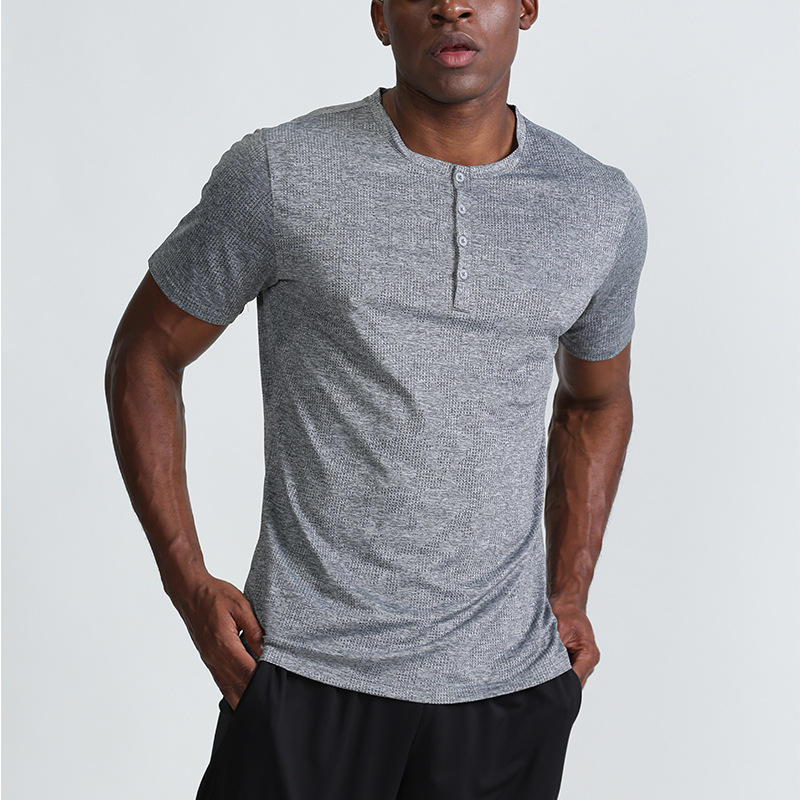 Summer Dry Fit Button Crew Neck Sweatshirt Plain Gym Workout Breathable Mens Shirts