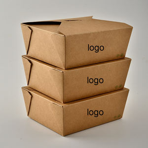 Custom size logo printing disposable takeaway recycle kraft paper lunch box food box packaging