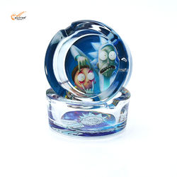 Gunter Smoking Accessories Factory Direct Wholesale Hot Product Rick And Morty Pattern Round Crystal Glass Ashtray