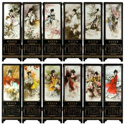 Chinese style handicraft Lacquer craft ornaments Wooden crafts Small folding screen Desktop decorative screen Tabletop ornaments