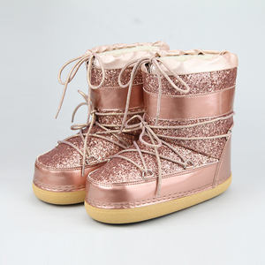 China Factory Supply Winter Lace up Glitter Rose Gold Moon Boot Unisex Adults Snow Winter Waterproof Boots