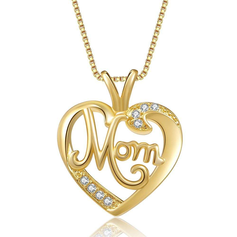 Wsyear Electroplated Gold Mom Micro-Ingelegd Zirkoon Hart-Vormige Mode <span class=keywords><strong>Ketting</strong></span> Moeder Dag Gift