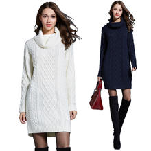 Amazon Top Selling Women Winter Knit Sweater Turtleneck White Dress Sweater