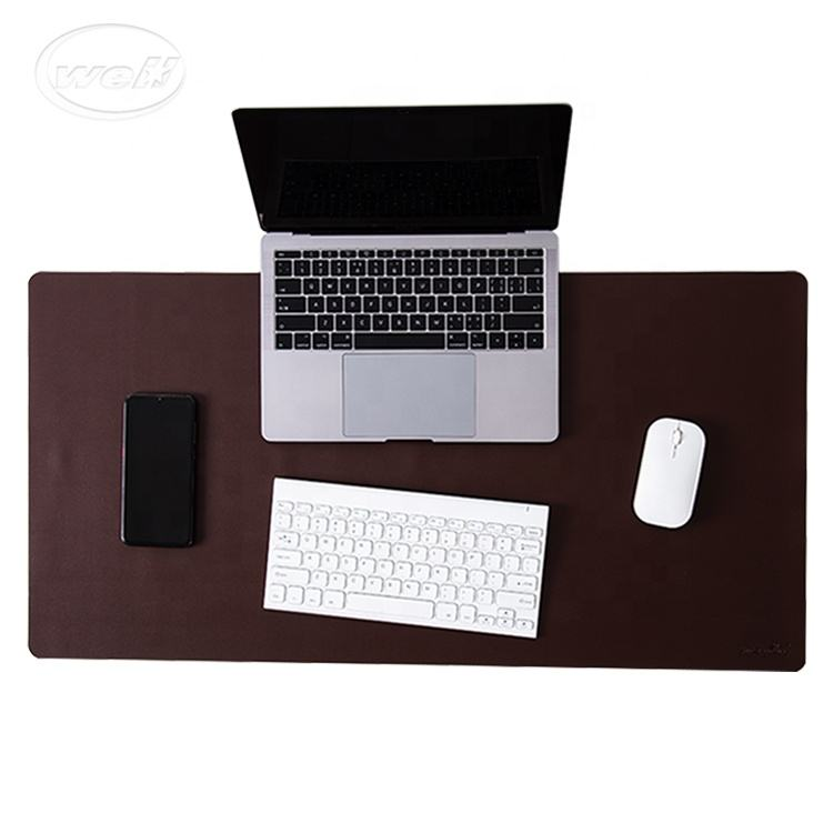 Custom corner double sided large full laptop lap computer office waterproof PU leather desk pad/mat with custom logo printing