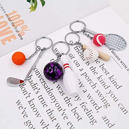 Racket and Ball Pendant Keychain Mini Badminton Tennis Ping Pong Baseball Bowling Golf Key Chain D1978