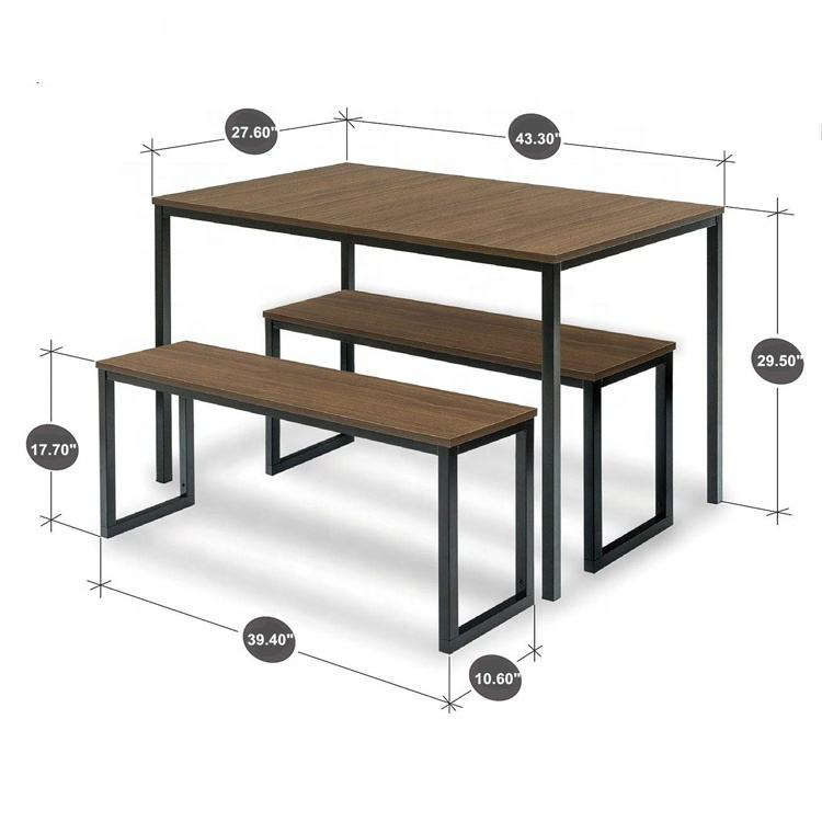 Modern Studio Collection Soho Nook 3 Piece Pub Table Set Rectangle Dining Table with Two Benches Space Saver Furniture
