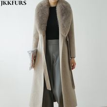 Hot Selling Women Wool Overcoat Women Winter Real Fox Fur Collar Slim Coat Double Sided Woolen Coat