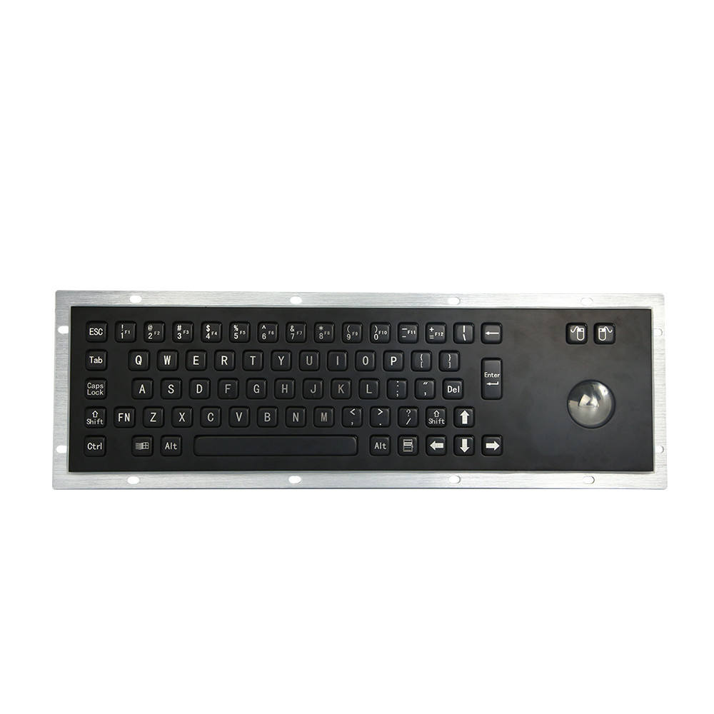 Schwarz edelstahl tastaturen Metall Kiosk Tastatur mit <span class=keywords><strong>Trackball</strong></span> Terminal metall tastatur <span class=keywords><strong>trackball</strong></span> mit hochwertige