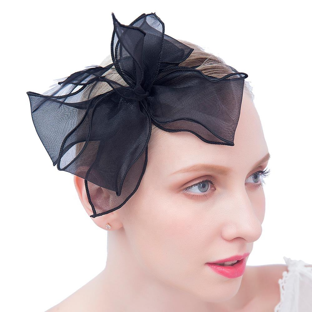Amazon hot sales Tea party headband Kentucky Derby Wedding Cocktail Mesh Feathers hair clip Fascinators hat for women