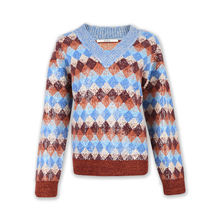 Sequins embroidery women knit sweater argyle jacquard knitwear sweater for women v neck long sleeve pullover