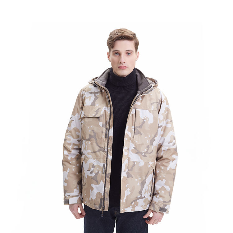 Custom Waterproof Camo Parka Jacket Mens Hooded Windproof Mid Weight Jacket