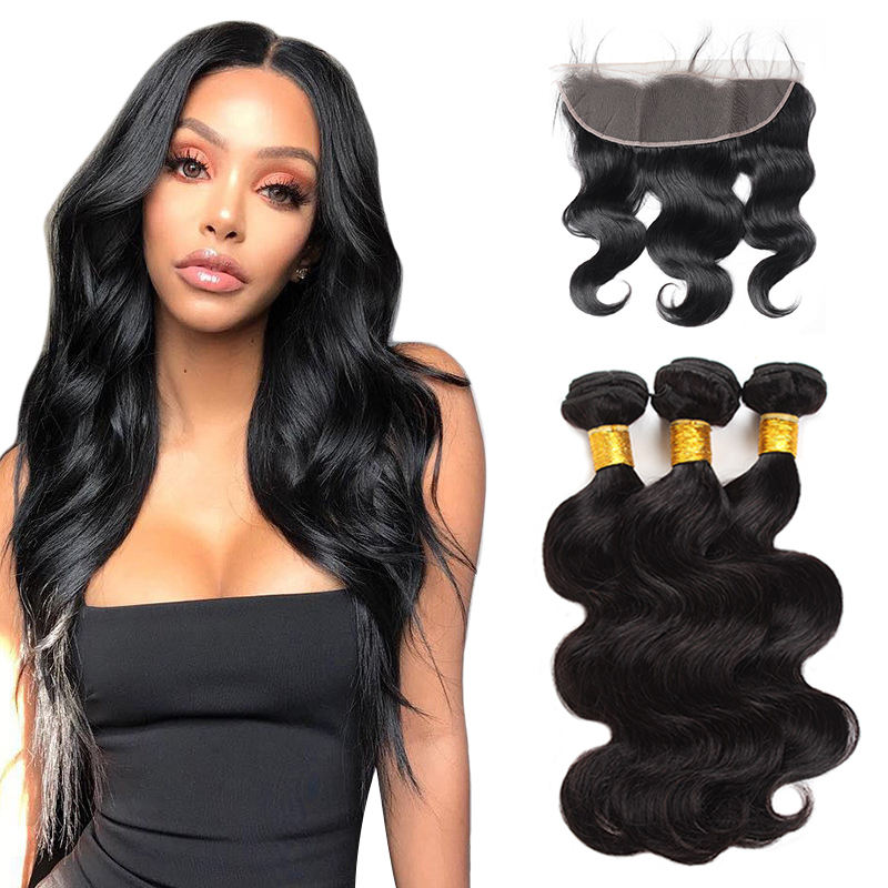 wholesale free sample classic style 100% natural 100% natural easy to dye 13x4 frontal lace closure with bundles