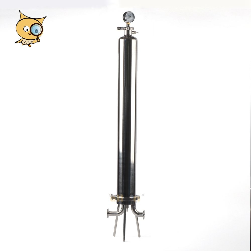 ALL IN Factory Outlet 316L Stainless Steel Sanitary 30 Inch Housing Filter with Pressure Meter Cartridge Installed for Beer Brew