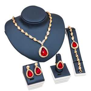 LAN PALACE African Beads Costume fine jewelry set gold color wedding jewelry necklace earrings ring bracelets