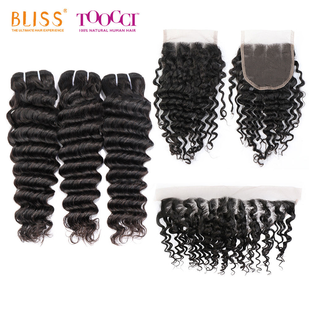 Bliss 8A Deep Wave Remy Human Hair Weave Bundles 100% Unprocessed Virgin Brazilian hair Deep Wave Hair with Lace Frontal Closure