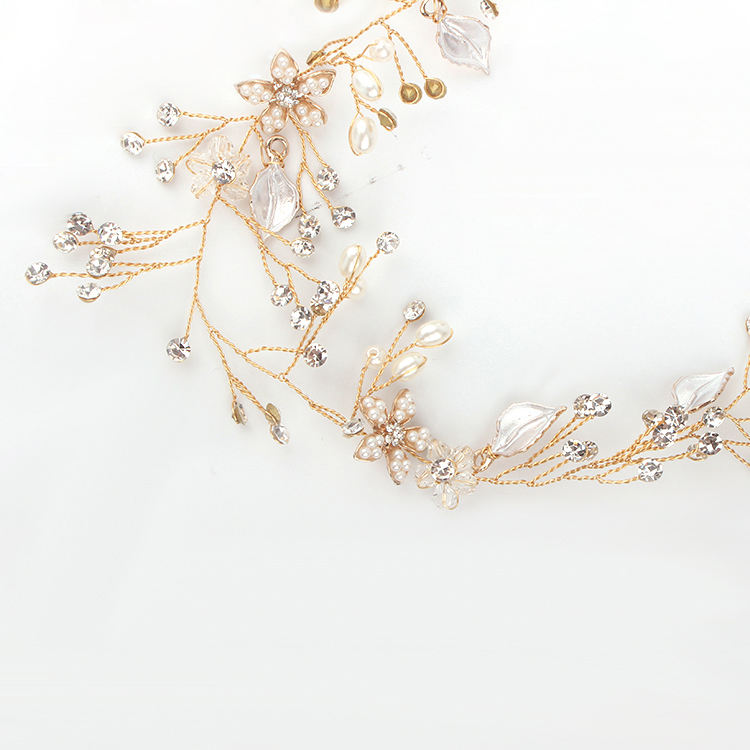 Wedding Headpiece Gold Color Metal Pearl Leaf Headband For Woman