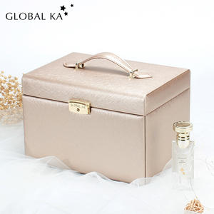 Classical gold leather double doors jewelry box with lock and mirror and custom logo jewellery storage boxes