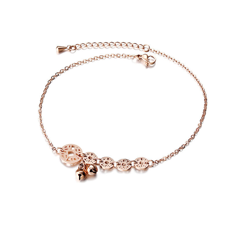 Fashion New Design Female Rose Gold Multi-layer Bow Peach Heart Summer Stainless Steel Anklet Jewelry