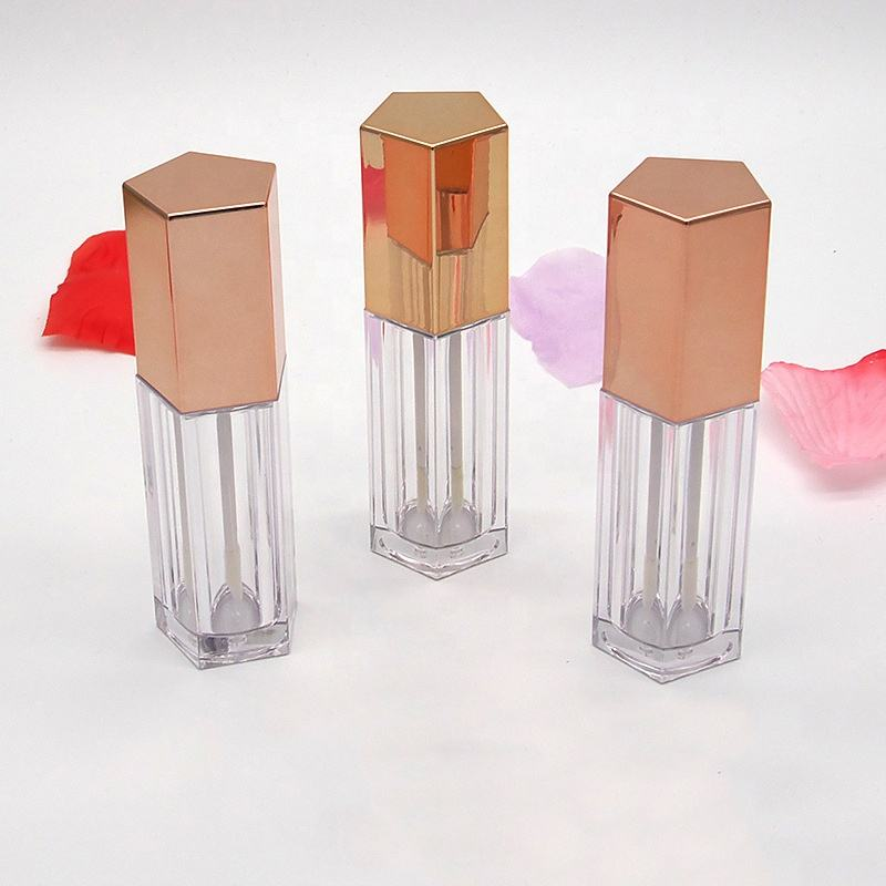 Premium Quality Wholesale Custom 10ml Clear Lip Gloss Tube with Wands, Rose Gold Lipstick Tube Container