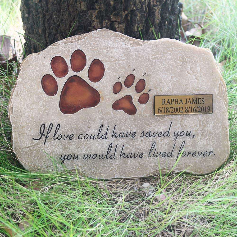 Hand-Printed Pet Memorial Stone, Personalized Memorial Stone Engraved with The Name of The Pet and The Date