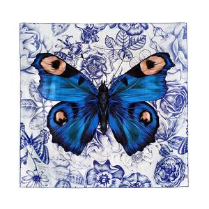 Luxury 90cm Blue Butterfly Square Bandana Women Twill Silk Scarf Digital Printed