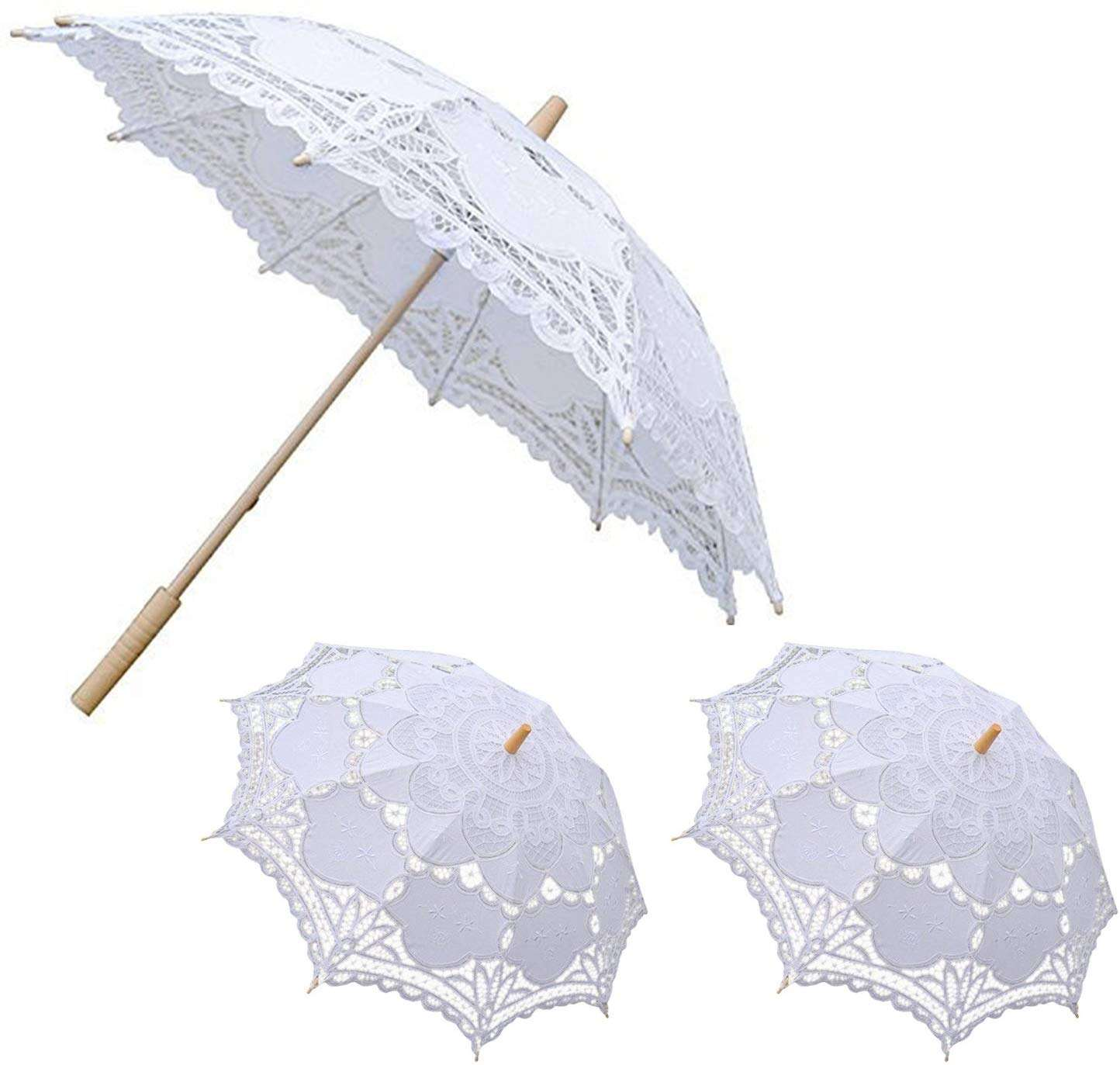 Amazon Hot Sale New Products White Lace Parasol Wood Handle Wedding Umbrellas for Photography Travel